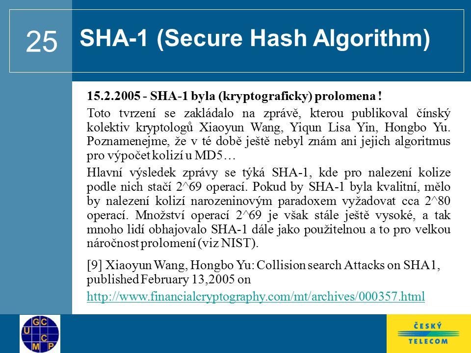 25 15.2.2005 - SHA-1 byla (kryptograficky) prolomena .