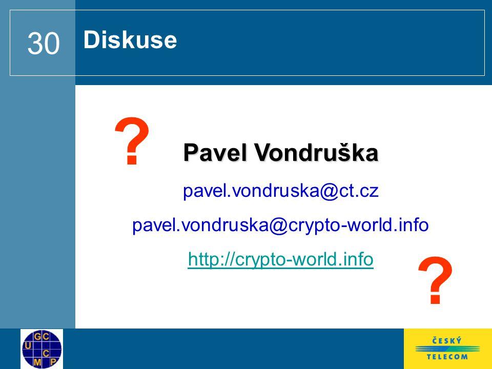 30 Pavel Vondruška pavel.vondruska@ct.cz pavel.vondruska@crypto-world.info http://crypto-world.info Diskuse .