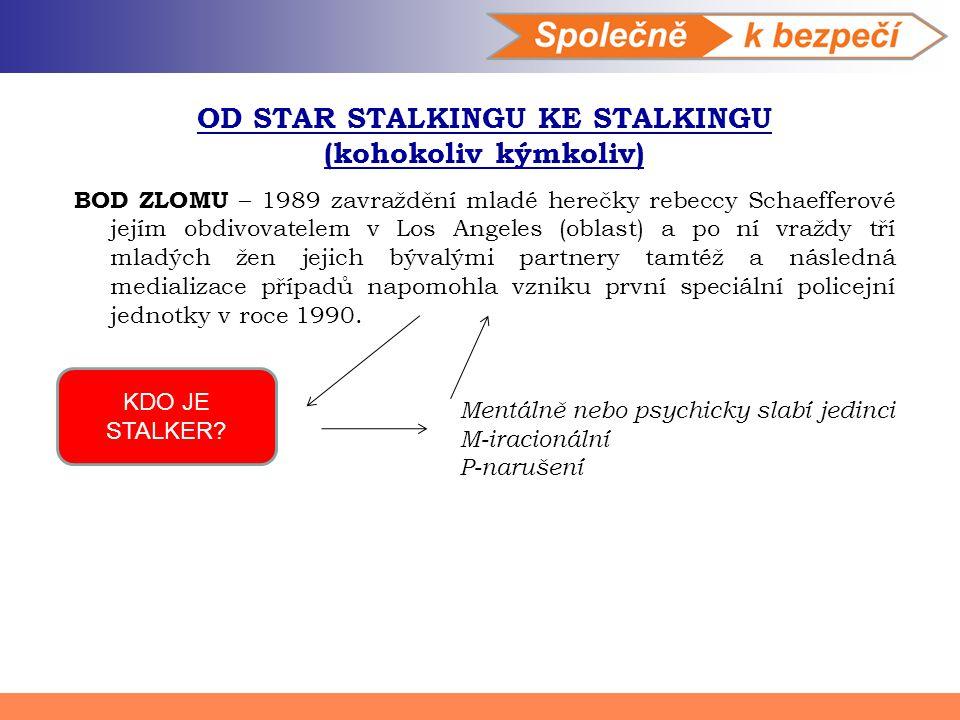 OD STAR STALKINGU KE STALKINGU (kohokoliv kýmkoliv) BOD ZLOMU – 1989 zavraždění mladé herečky rebeccy Schaefferové jejím obdivovatelem v Los Angeles (