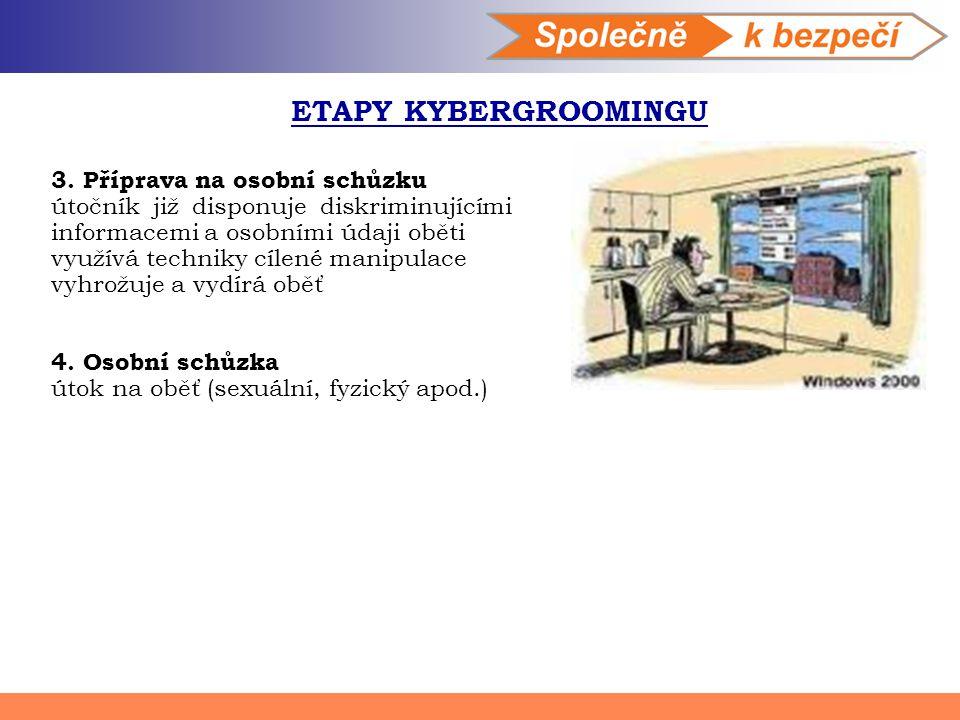 ETAPY KYBERGROOMINGU 3. Příprava na osobní schůzku útočník již disponuje diskriminujícími informacemi a osobními údaji oběti využívá techniky cílené m