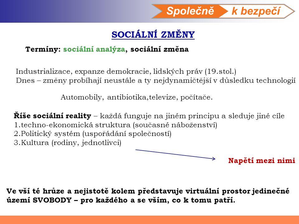 SOCIÁLNÍ ZMĚNY Termíny: sociální analýza, sociální změna Industrializace, expanze demokracie, lidských práv (19.stol.) Dnes – změny probíhají neustále