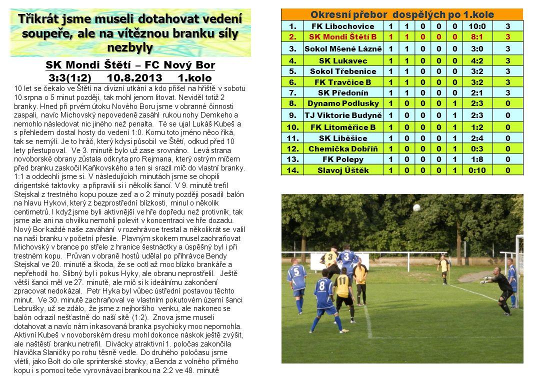 SK Mondi Štětí – FC Nový Bor 3:3(1:2) 10.8.2013 1.kolo 10 let se čekalo ve Štětí na divizní utkání a kdo přišel na hřiště v sobotu 10.srpna o 5 minut