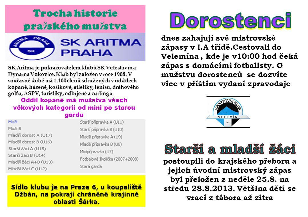 Trocha historie pra ž ského mu ž stva SK Aritma je pokračovatelem klubů SK Veleslavín a Dynama Vokovice. Klub byl založen v roce 1908. V současné době