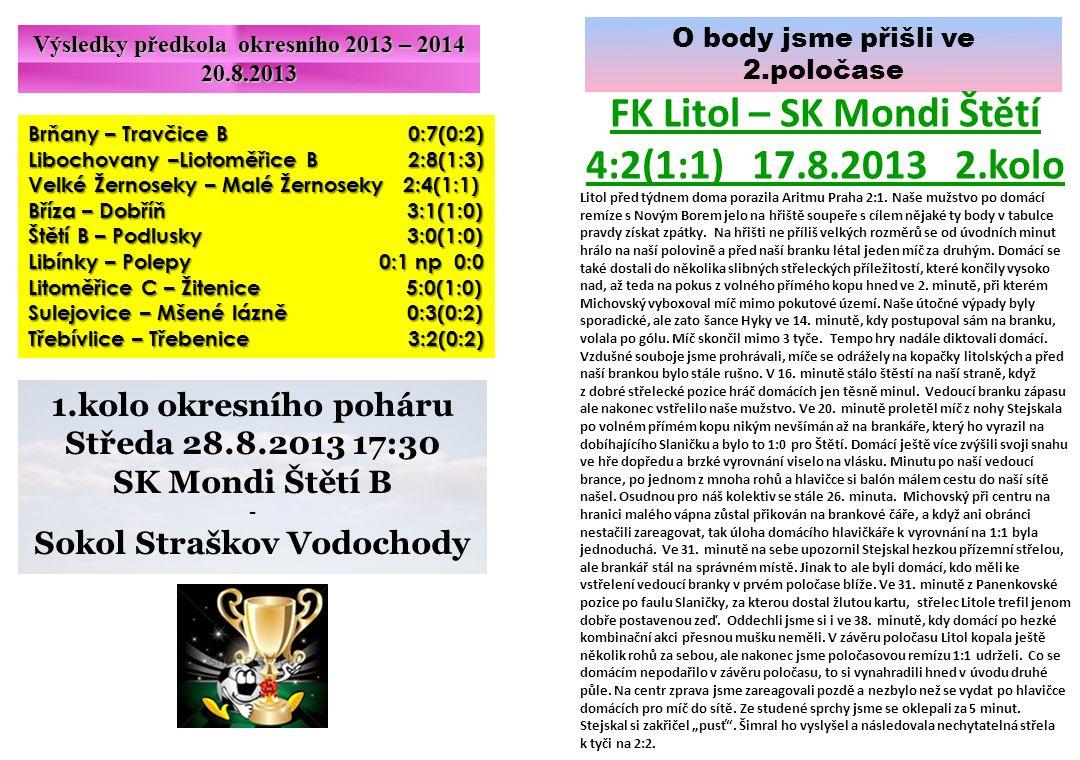 O body jsme přišli ve 2.poločase FK Litol – SK Mondi Štětí 4:2(1:1) 17.8.2013 2.kolo Litol před týdnem doma porazila Aritmu Praha 2:1. Naše mužstvo po