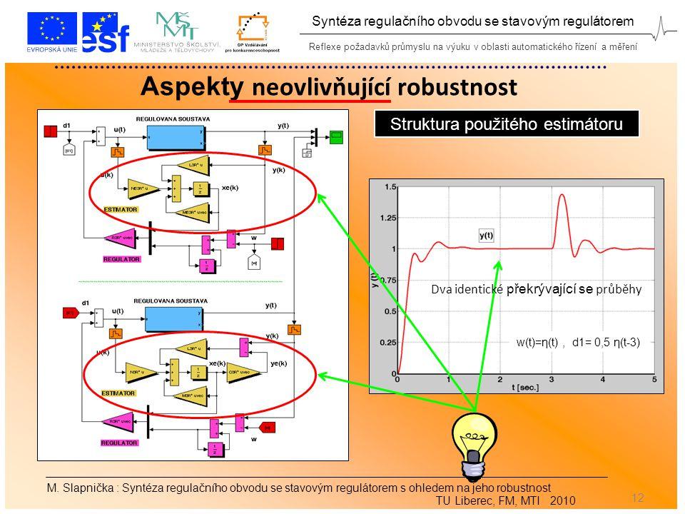 Reflexe požadavků průmyslu na výuku v oblasti automatického řízení a měření Syntéza regulačního obvodu se stavovým regulátorem 12 M.