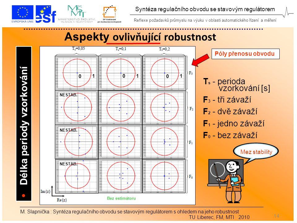 Reflexe požadavků průmyslu na výuku v oblasti automatického řízení a měření Syntéza regulačního obvodu se stavovým regulátorem 14 M.