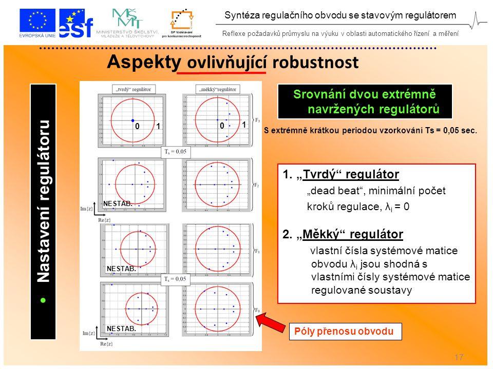Reflexe požadavků průmyslu na výuku v oblasti automatického řízení a měření Syntéza regulačního obvodu se stavovým regulátorem 17 Aspekty ovlivňující robustnost  Nastavení regulátoru S extrémně krátkou periodou vzorkování Ts = 0,05 sec.