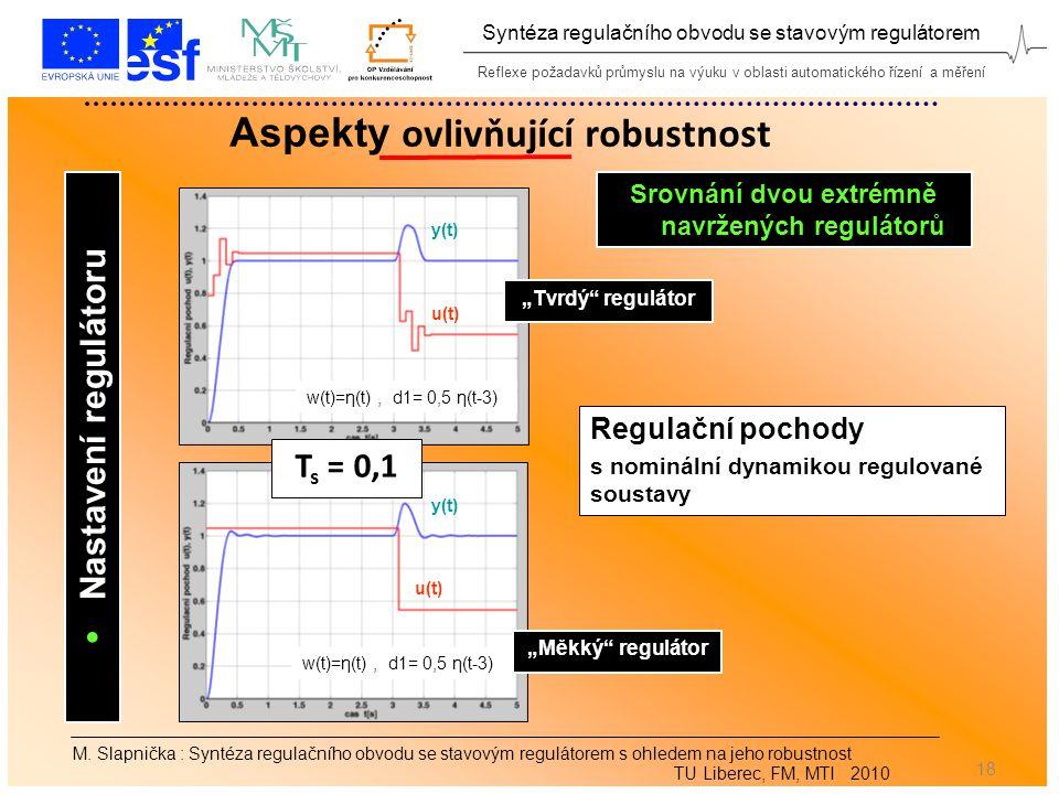 Reflexe požadavků průmyslu na výuku v oblasti automatického řízení a měření Syntéza regulačního obvodu se stavovým regulátorem 18 Aspekty ovlivňující robustnost M.