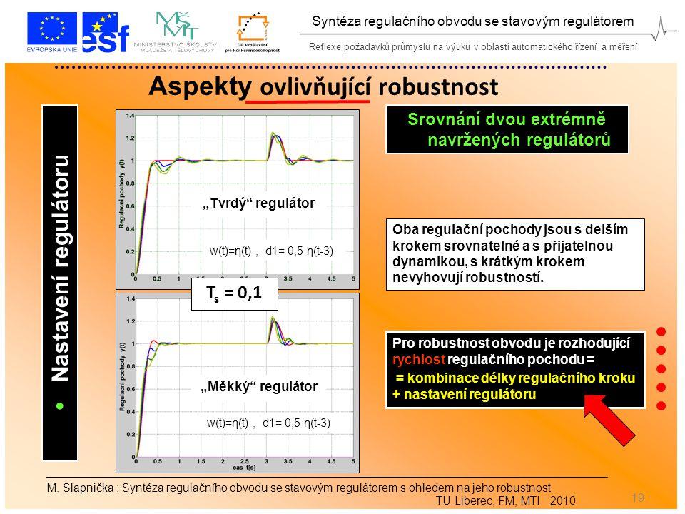 Reflexe požadavků průmyslu na výuku v oblasti automatického řízení a měření Syntéza regulačního obvodu se stavovým regulátorem 19 Aspekty ovlivňující robustnost M.