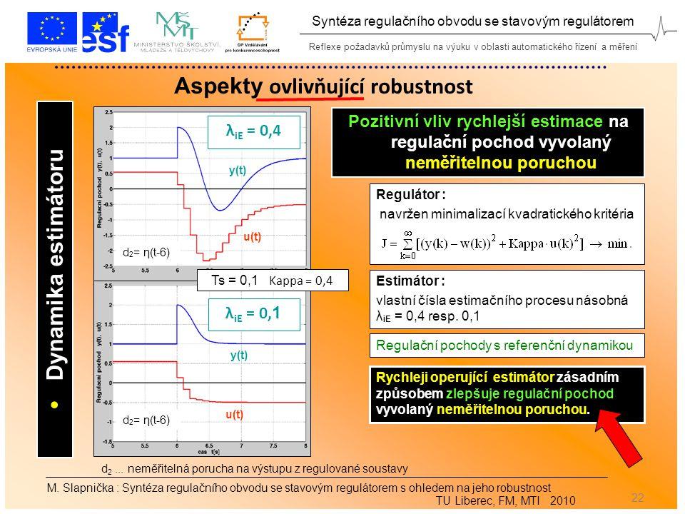 Reflexe požadavků průmyslu na výuku v oblasti automatického řízení a měření Syntéza regulačního obvodu se stavovým regulátorem 22 Aspekty ovlivňující robustnost M.