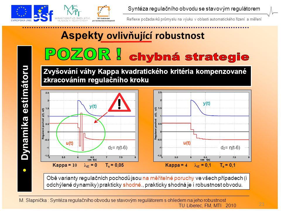 Reflexe požadavků průmyslu na výuku v oblasti automatického řízení a měření Syntéza regulačního obvodu se stavovým regulátorem 23 M.