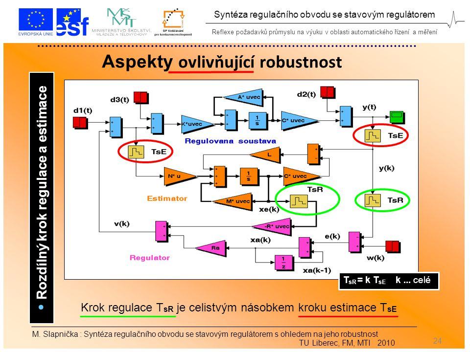 Reflexe požadavků průmyslu na výuku v oblasti automatického řízení a měření Syntéza regulačního obvodu se stavovým regulátorem 24 M.