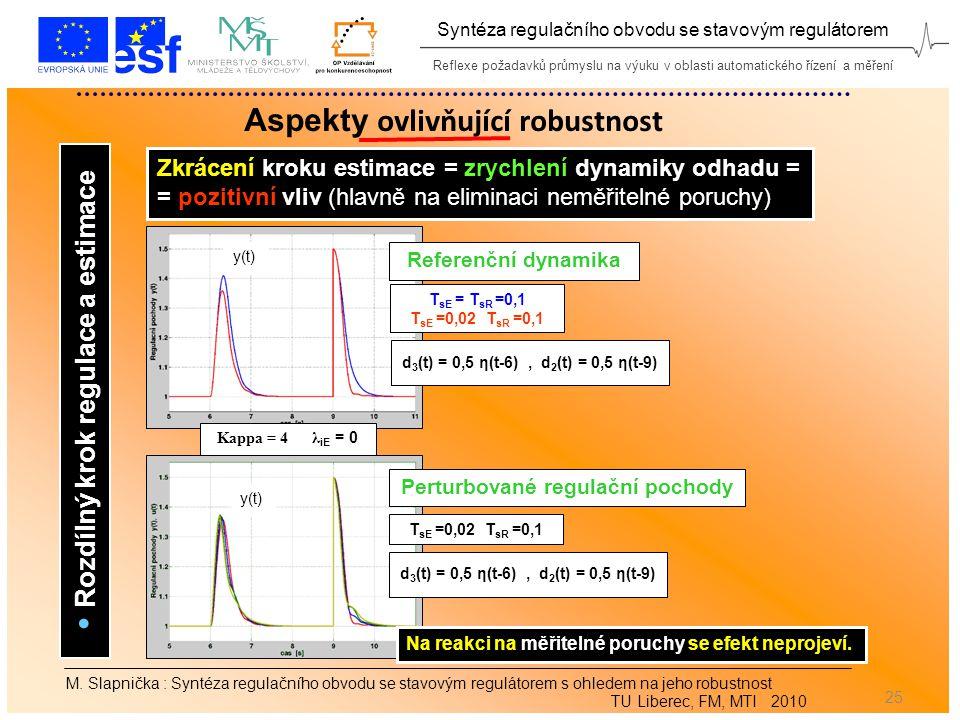 Reflexe požadavků průmyslu na výuku v oblasti automatického řízení a měření Syntéza regulačního obvodu se stavovým regulátorem 25 M.