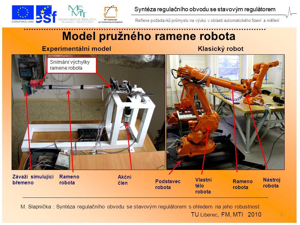 Reflexe požadavků průmyslu na výuku v oblasti automatického řízení a měření Syntéza regulačního obvodu se stavovým regulátorem 5 Model pružného ramene robota Podstavec robota Vlastní tělo robota Rameno robota Nástroj robota Rameno robota Snímání výchylky ramene robota Závaží simulující břemeno Akční člen Experimentální modelKlasický robot M.