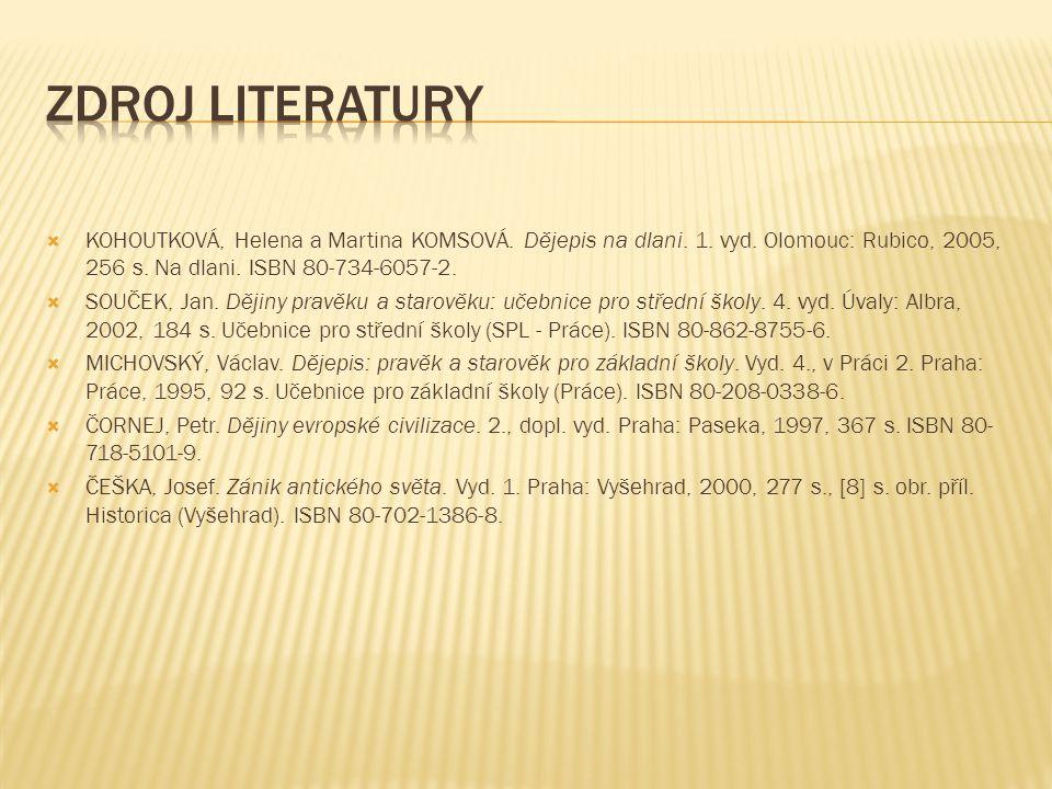  KOHOUTKOVÁ, Helena a Martina KOMSOVÁ. Dějepis na dlani. 1. vyd. Olomouc: Rubico, 2005, 256 s. Na dlani. ISBN 80-734-6057-2.  SOUČEK, Jan. Dějiny pr