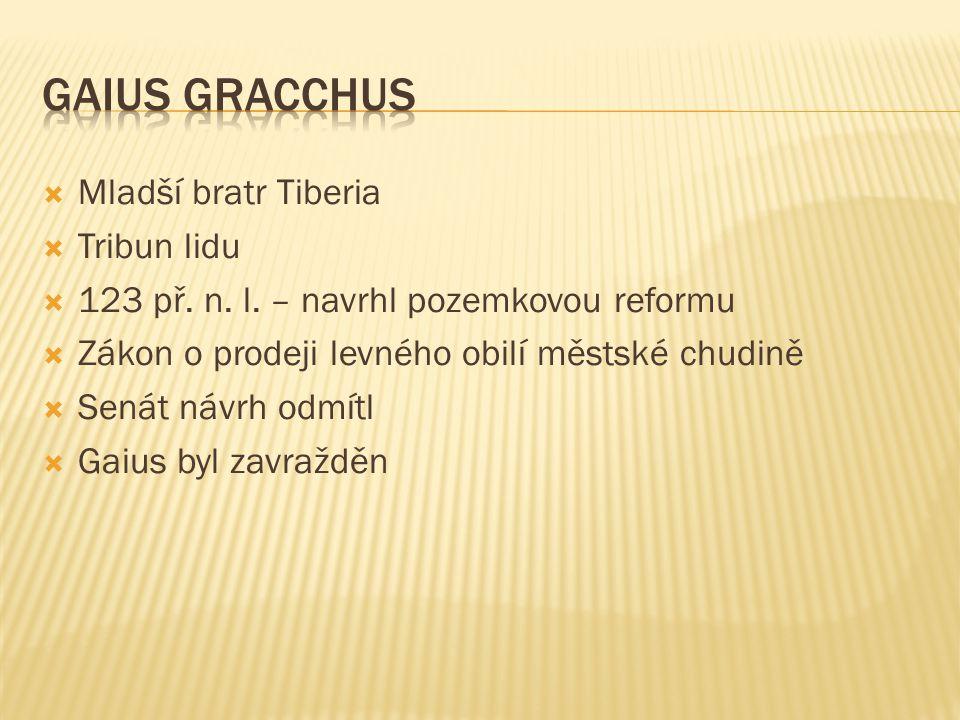  Mladší bratr Tiberia  Tribun lidu  123 př. n.