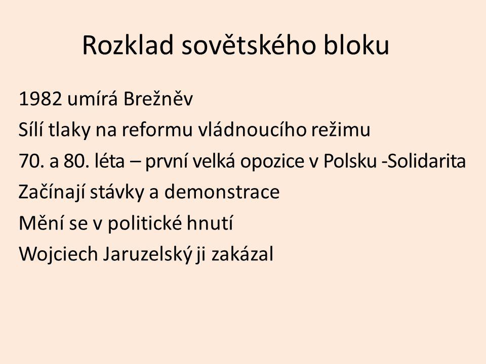 Rozklad sovětského bloku 1982 umírá Brežněv Sílí tlaky na reformu vládnoucího režimu 70.