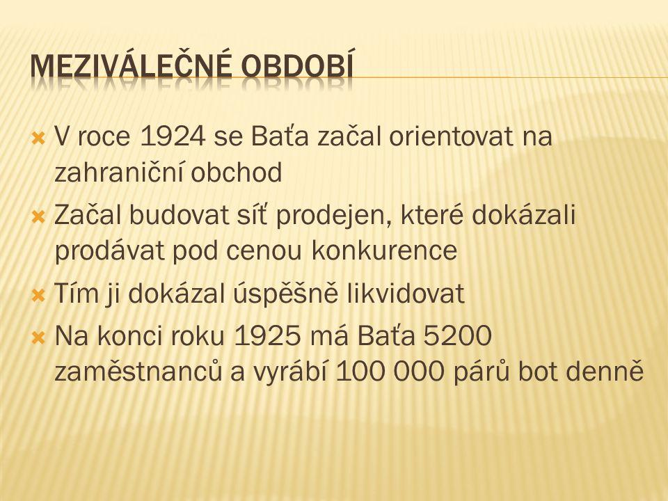  V roce 1924 se Baťa začal orientovat na zahraniční obchod  Začal budovat síť prodejen, které dokázali prodávat pod cenou konkurence  Tím ji dokázal úspěšně likvidovat  Na konci roku 1925 má Baťa 5200 zaměstnanců a vyrábí 100 000 párů bot denně