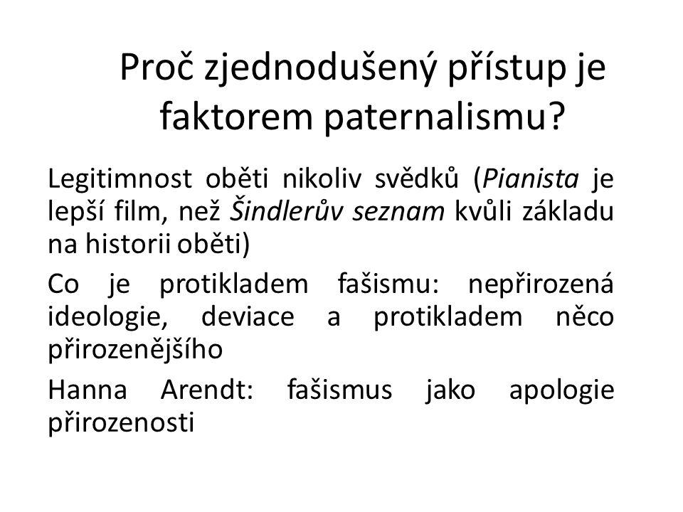 Proč zjednodušený přístup je faktorem paternalismu? Legitimnost oběti nikoliv svědků (Pianista je lepší film, než Šindlerův seznam kvůli základu na hi