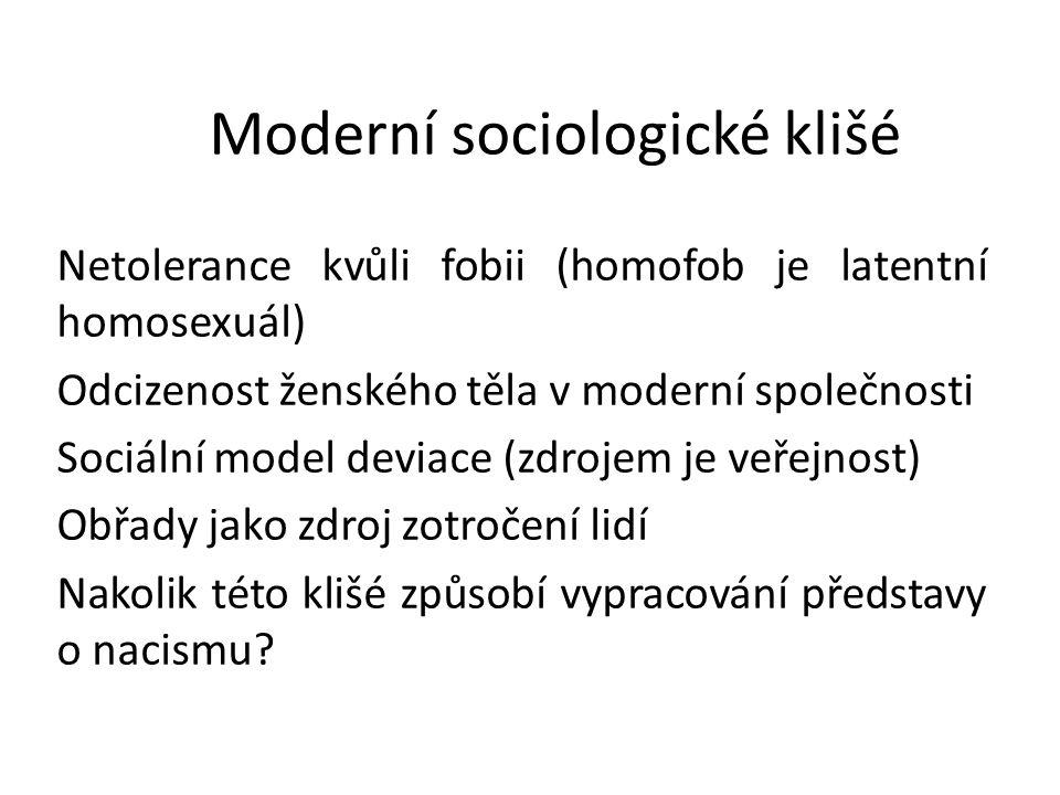 Moderní sociologické klišé Netolerance kvůli fobii (homofob je latentní homosexuál) Odcizenost ženského těla v moderní společnosti Sociální model devi