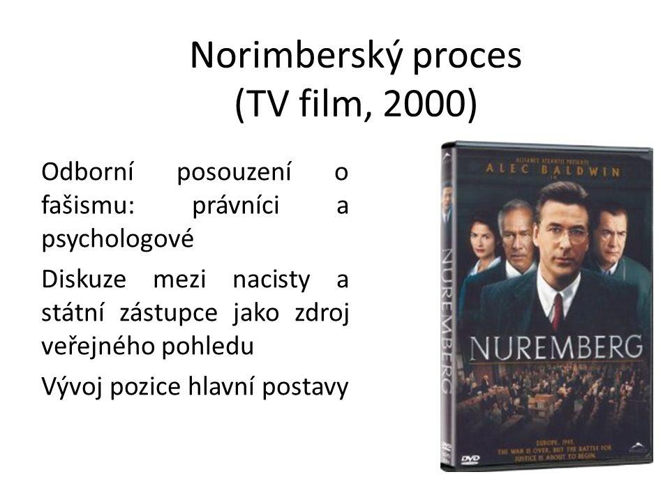 Norimberský proces (TV film, 2000) Odborní posouzení o fašismu: právníci a psychologové Diskuze mezi nacisty a státní zástupce jako zdroj veřejného po