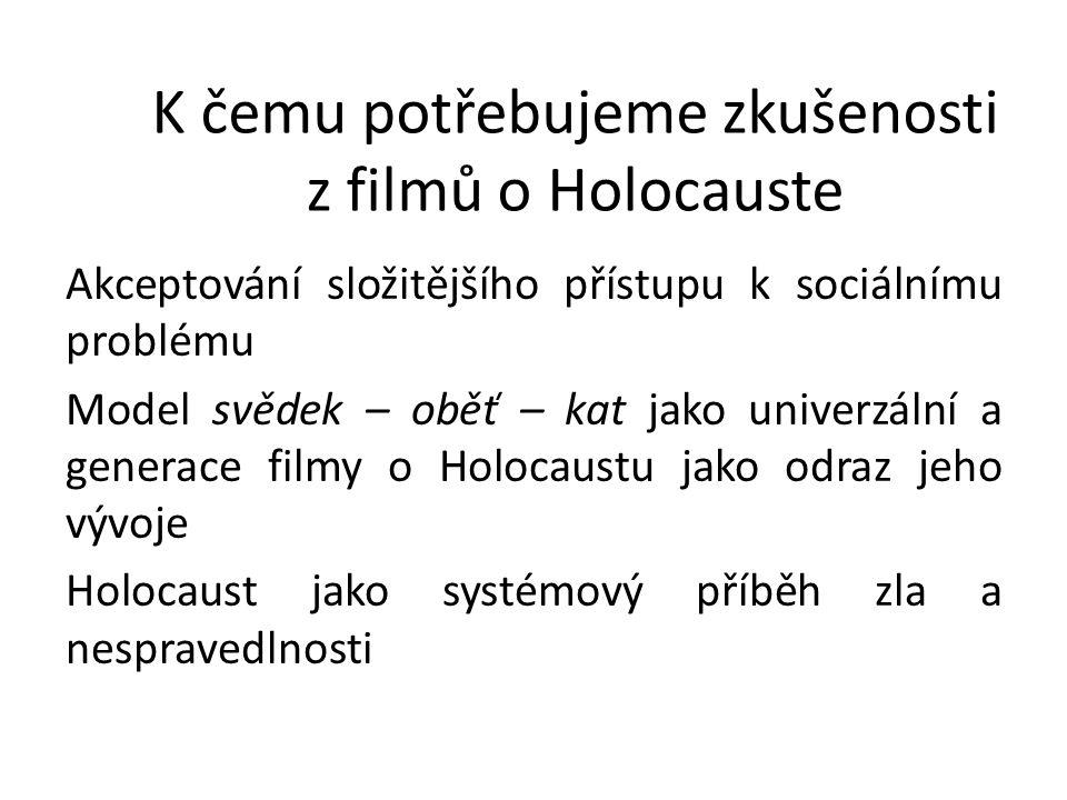 K čemu potřebujeme zkušenosti z filmů o Holocauste Akceptování složitějšího přístupu k sociálnímu problému Model svědek – oběť – kat jako univerzální