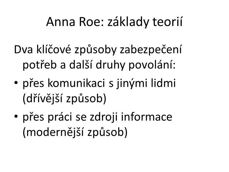Anna Roe: základy teorií Dva klíčové způsoby zabezpečení potřeb a další druhy povolání: přes komunikaci s jinými lidmi (dřívější způsob) přes práci se