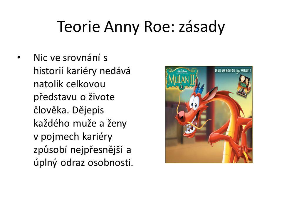 Teorie Anny Roe: zásady Nic ve srovnání s historií kariéry nedává natolik celkovou představu o živote člověka. Dějepis každého muže a ženy v pojmech k