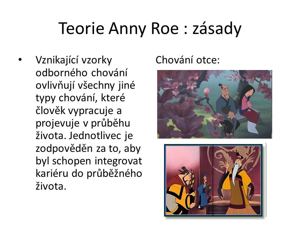 Teorie Anny Roe : zásady Vznikající vzorky odborného chování ovlivňují všechny jiné typy chování, které člověk vypracuje a projevuje v průběhu života.