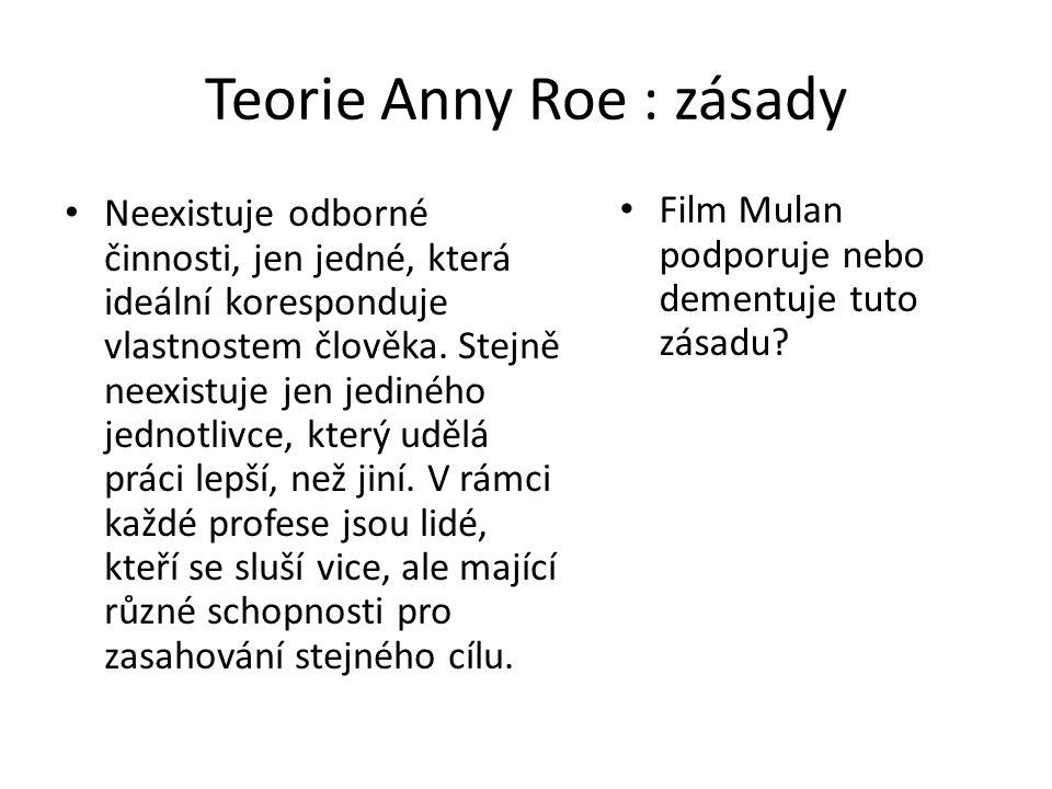 Teorie Anny Roe : zásady Neexistuje odborné činnosti, jen jedné, která ideální koresponduje vlastnostem člověka. Stejně neexistuje jen jediného jednot