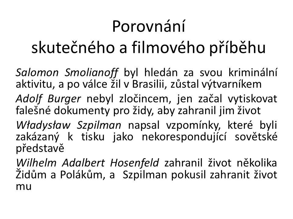 Porovnání skutečného a filmového příběhu Salomon Smolianoff byl hledán za svou kriminální aktivitu, a po válce žil v Brasilii, zůstal výtvarníkem Adol