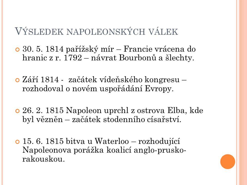 V ÝSLEDEK NAPOLEONSKÝCH VÁLEK 30. 5. 1814 pařížský mír – Francie vrácena do hranic z r. 1792 – návrat Bourbonů a šlechty. Září 1814 - začátek vídeňské