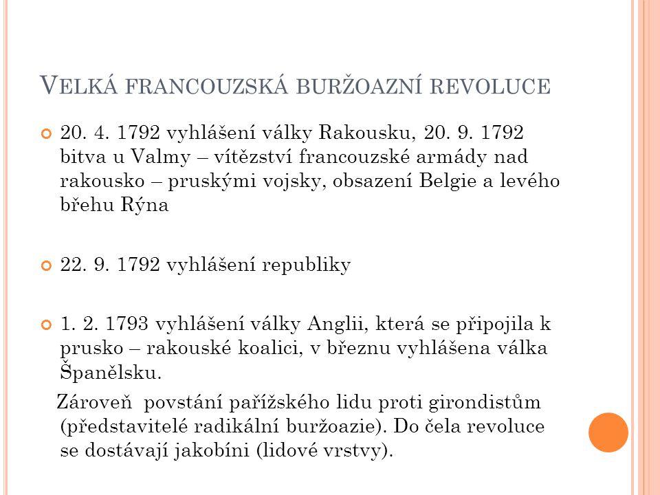 V ELKÁ FRANCOUZSKÁ BURŽOAZNÍ REVOLUCE 20. 4. 1792 vyhlášení války Rakousku, 20. 9. 1792 bitva u Valmy – vítězství francouzské armády nad rakousko – pr