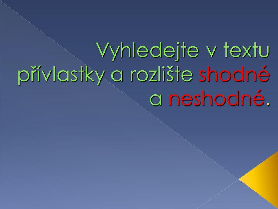 Přívlastek 2 6.ročník ZŠ Použitý software: držitel licence - ZŠ J.