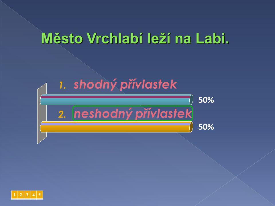 1. shodný přívlastek 2. neshodný přívlastek 12345 Město Vrchlabí leží na Labi.
