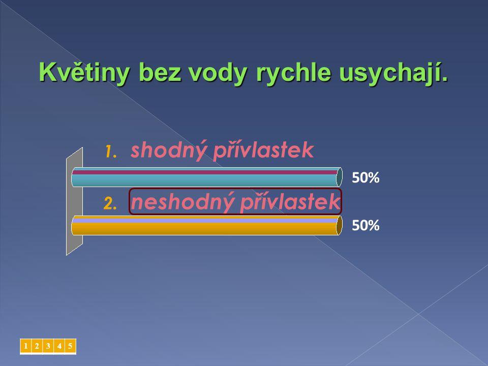 1. shodný přívlastek 2. neshodný přívlastek 12345 Sjezdové tratě se zasněžují.
