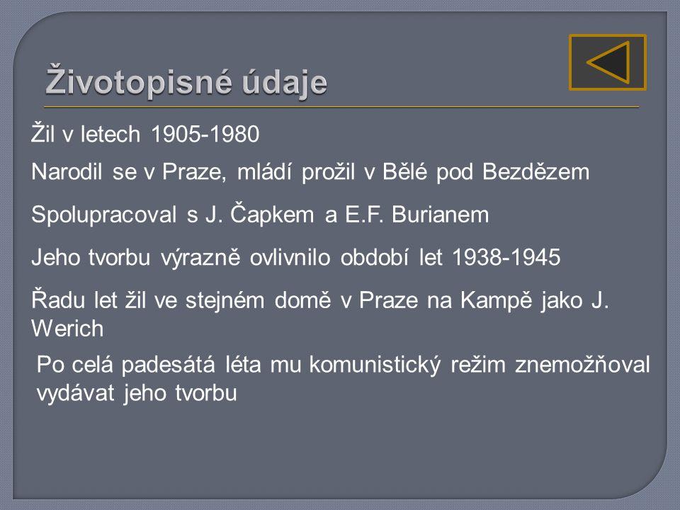 Žil v letech 1905-1980 Narodil se v Praze, mládí prožil v Bělé pod Bezdězem Spolupracoval s J.