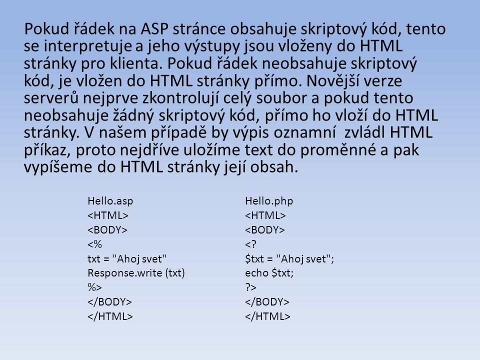 Pokud řádek na ASP stránce obsahuje skriptový kód, tento se interpretuje a jeho výstupy jsou vloženy do HTML stránky pro klienta.