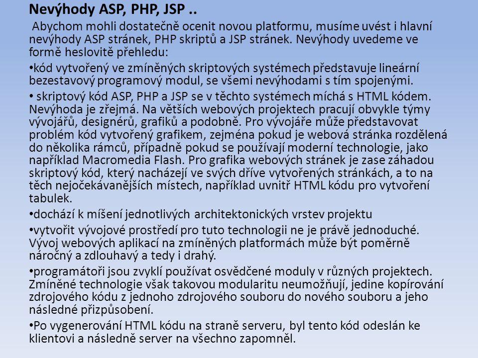 Nevýhody ASP, PHP, JSP..