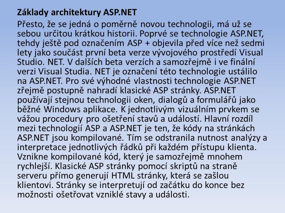Základy architektury ASP.NET Přesto, že se jedná o poměrně novou technologii, má už se sebou určitou krátkou historii.