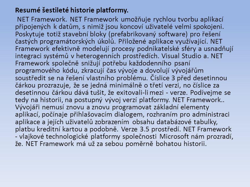 Resumé šestileté historie platformy. NET Framework.