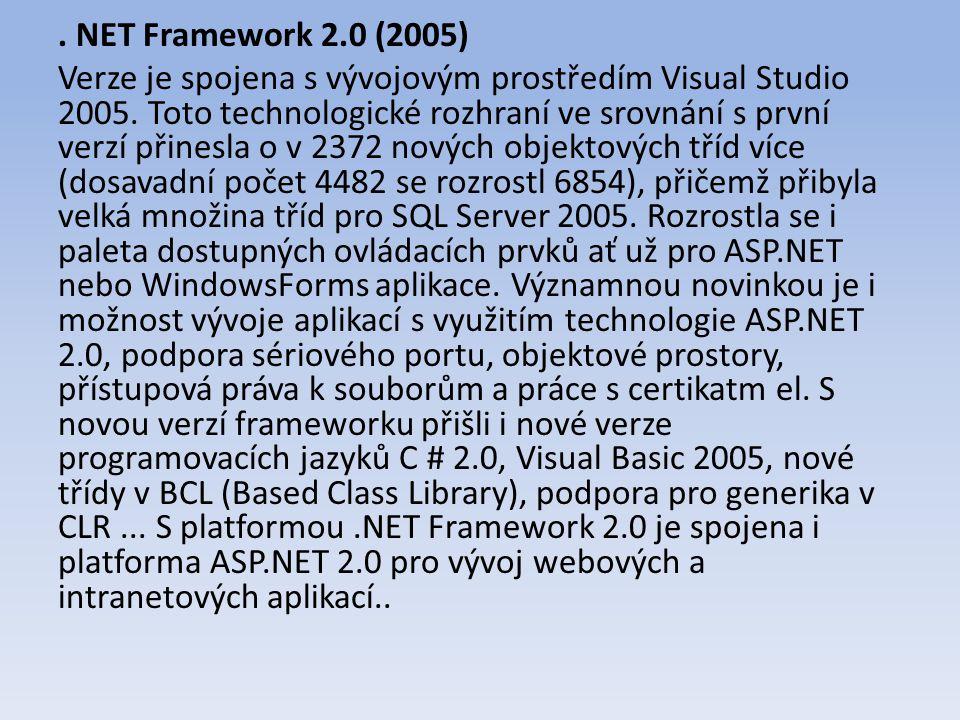 NET Framework 2.0 (2005) Verze je spojena s vývojovým prostředím Visual Studio 2005.