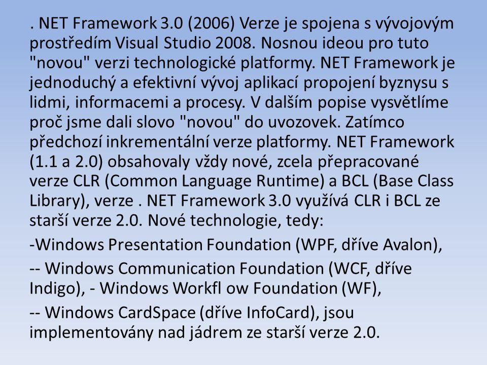 NET Framework 3.0 (2006) Verze je spojena s vývojovým prostředím Visual Studio 2008.