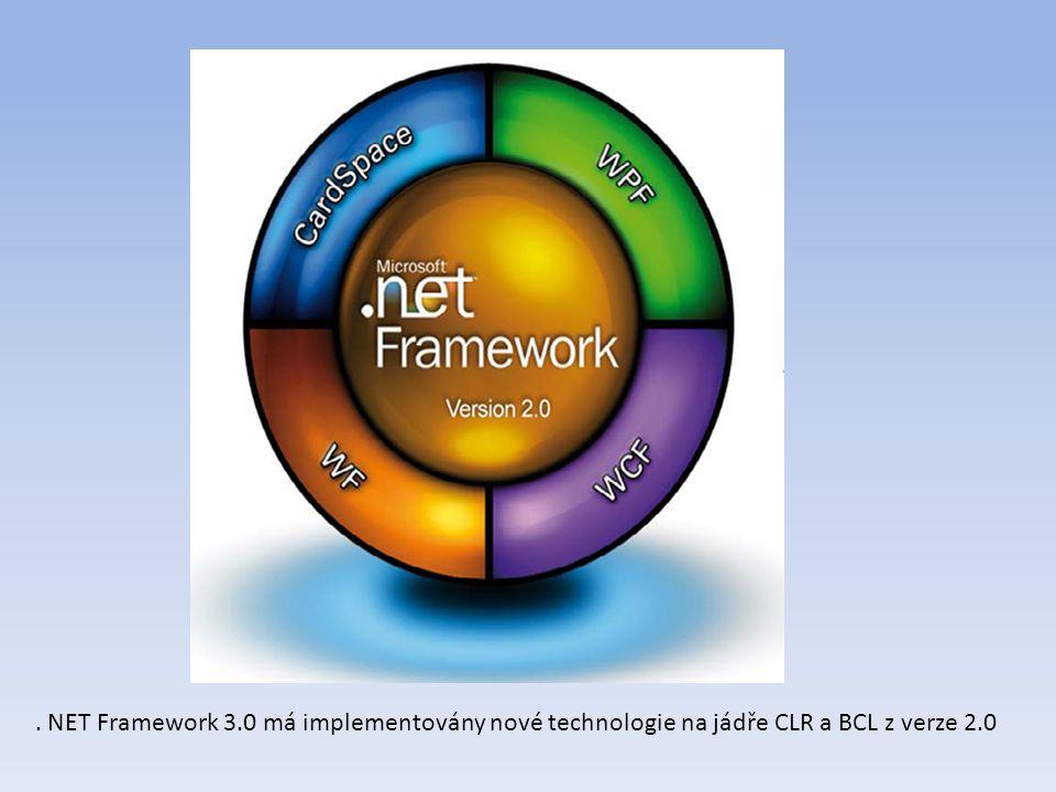 . NET Framework 3.0 má implementovány nové technologie na jádře CLR a BCL z verze 2.0