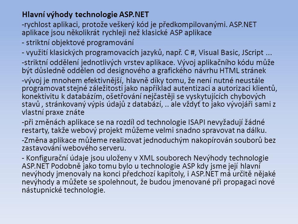 Hlavní výhody technologie ASP.NET -rychlost aplikaci, protože veškerý kód je předkompilovanými.
