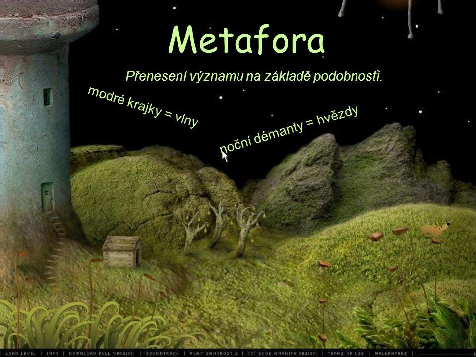 Metafora Přenesení významu na základě podobnosti. noční démanty = hvězdy modré krajky = vlny