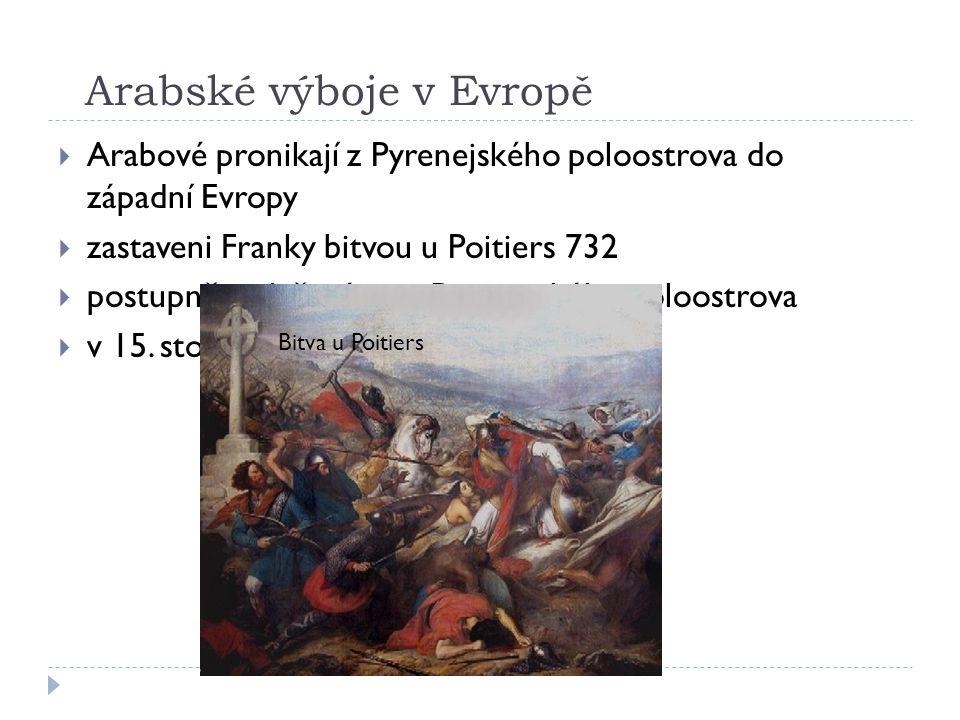 Arabské výboje v Evropě  Arabové pronikají z Pyrenejského poloostrova do západní Evropy  zastaveni Franky bitvou u Poitiers 732  postupně vytlačováni i z Pyrenejského poloostrova  v 15.