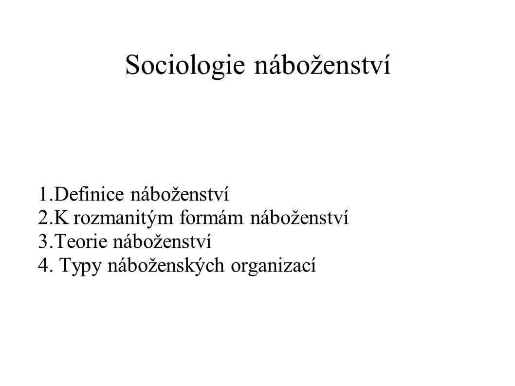 Sociologie náboženství 1.Definice náboženství 2.K rozmanitým formám náboženství 3.Teorie náboženství 4.