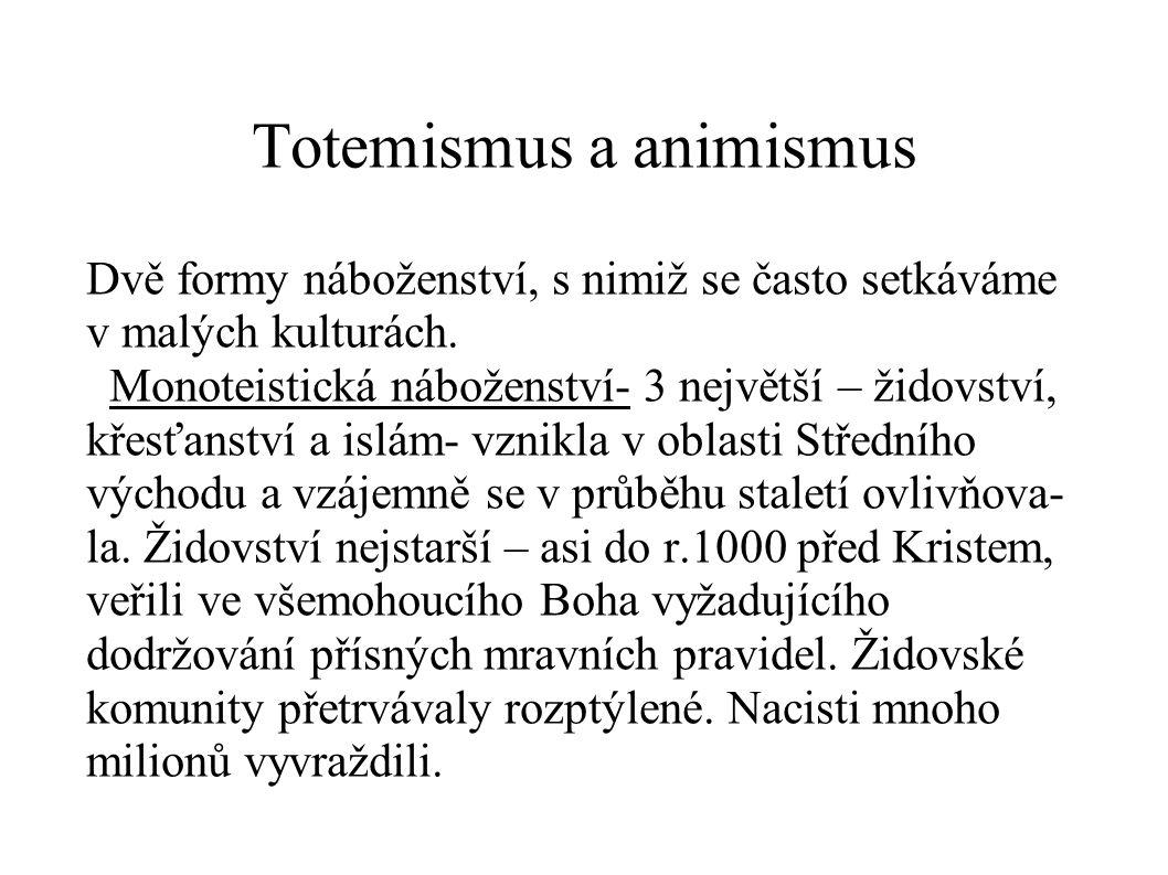 Totemismus a animismus Dvě formy náboženství, s nimiž se často setkáváme v malých kulturách.