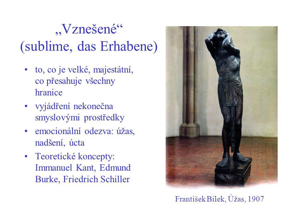 """""""Vznešené (sublime, das Erhabene) to, co je velké, majestátní, co přesahuje všechny hranice vyjádření nekonečna smyslovými prostředky emocionální odezva: úžas, nadšení, úcta Teoretické koncepty: Immanuel Kant, Edmund Burke, Friedrich Schiller František Bílek, Úžas, 1907"""